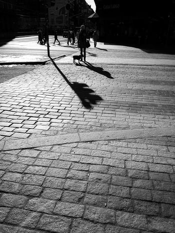 That silver line on your hair Shadowplay Shadows & Lights Streetphotography Blackandwhite Real People Day Lifestyles Nature City Water Wet Sunlight Silhouette Street