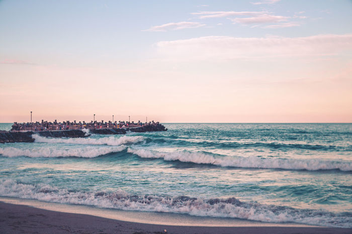 Beach Beachphotography Beauty In Nature Blue Sky Cloud - Sky Day Horizon Over Water Jet Boat Motion Nature No People Outdoors Power In Nature Scenics Sea Sea And Sky Sky Sunset Warm Water Wave Wave