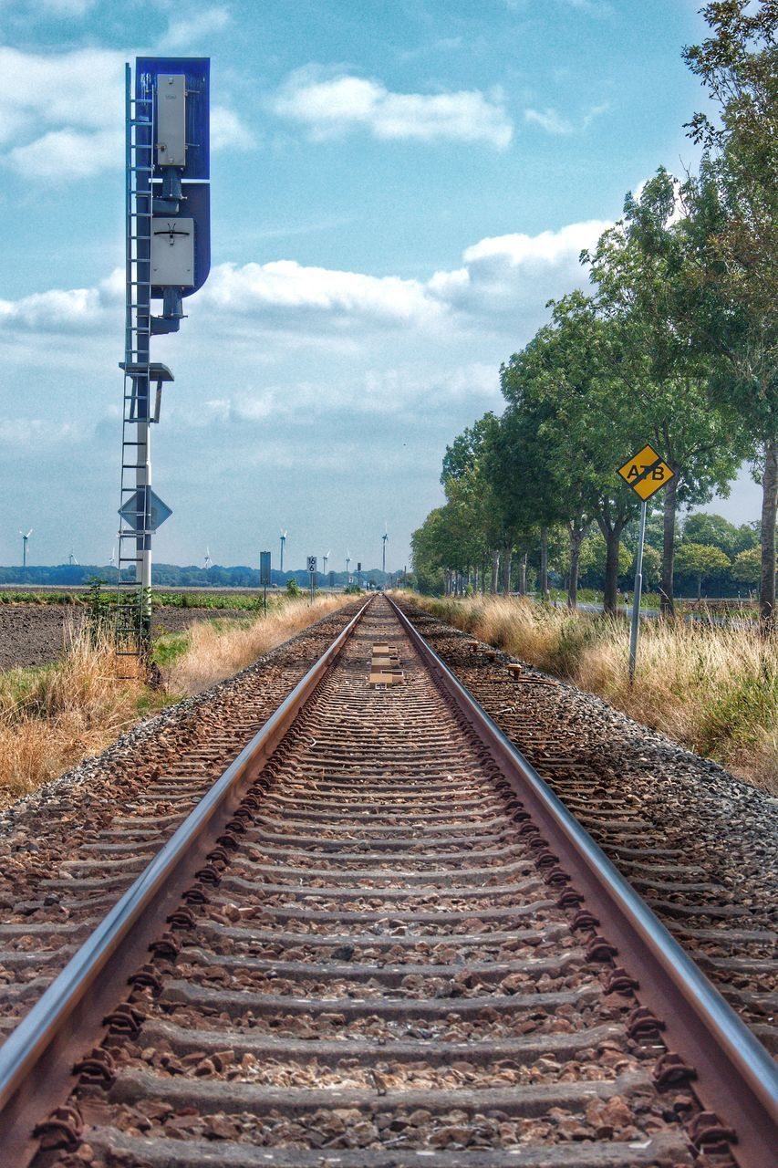 VIEW OF RAILROAD TRACK AGAINST SKY