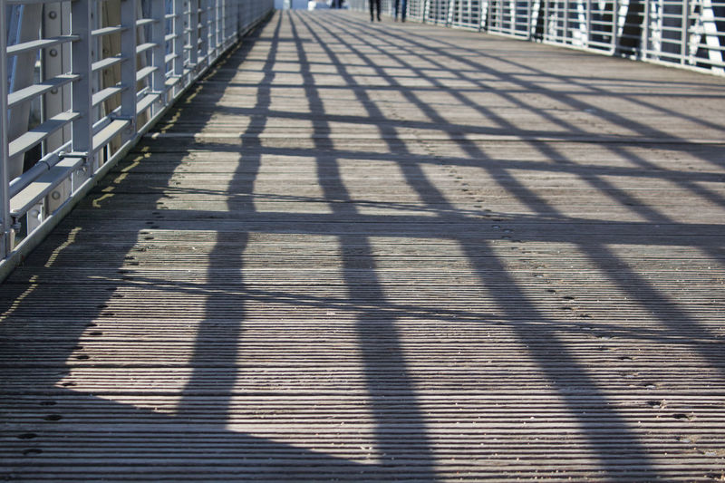 Shadow Sunlight Nature Direction Day Architecture Footpath The Way Forward Pattern No People Railing City Built Structure Street Outdoors Focus On Shadow High Angle View Sunny In A Row Empty Diminishing Perspective