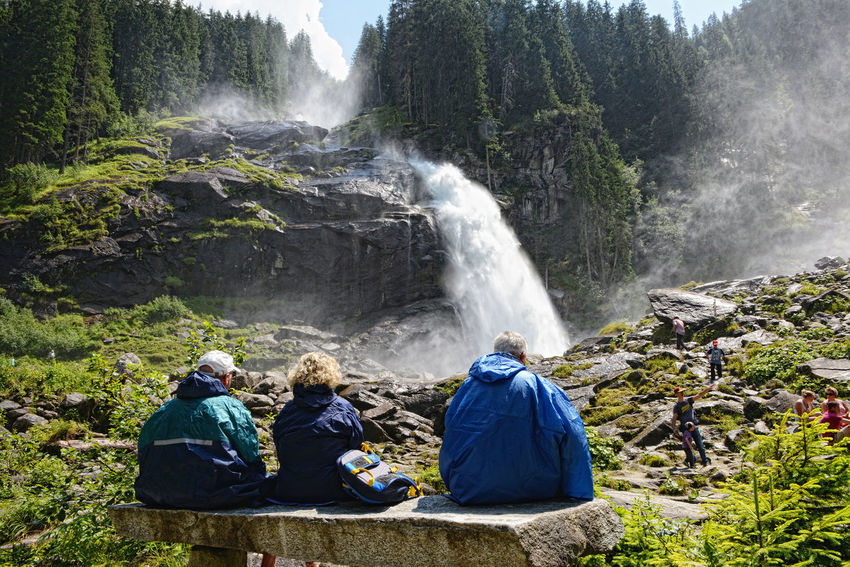 People visiting Krimml waterfalls in Austria at summer time. Part of High tauern mountain range national park Adults Only Alps Austria European Alps High Tauern Hiking Hohe Tauern Krimml Krimml Waterfalls Krimmler Wasserfalle Krimmlerwasserfälle Mountain National Park Nature Outdoors People Salzburger Land Tourism Travel Travel Destinations Vacations Water Waterfall Waterfalls Österreich