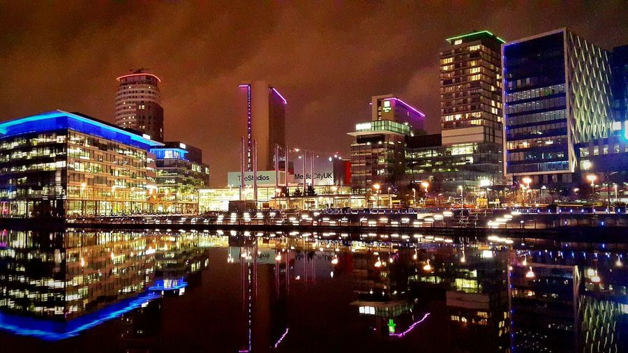 City Reflection Night Illuminated Architecture Cityscape Urban Skyline Outdoors Water Sky Skyscraper Neon Colors Lights And Shadows Travel Tourism United Kingdom MediaCity, UK Scenery Scenics Colorful Multi Colored Design Streetphotography City Life EyeEmNewHere