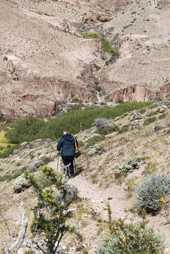 Rear view of man walking on land