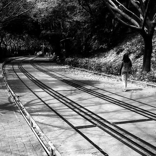 Walking on the way 🤔 b&w street photography people and places Amoy Street Fujian, China CityWalk Lifestyle Railroad Track Rail Transportation Public Transportation Full Length Railroad Station Platform Train - Vehicle