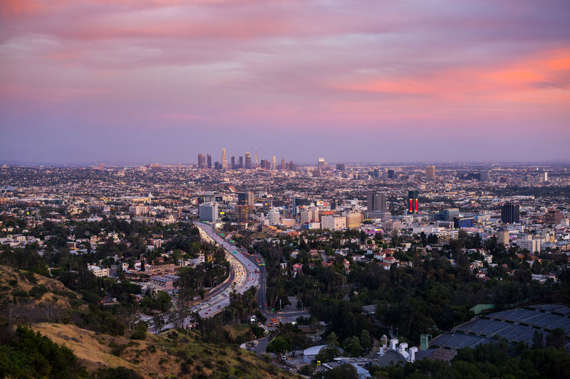 High angle view of la cityscape at sunset