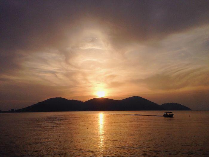 Relaxing ~ Sunset Ship Mountains Sun