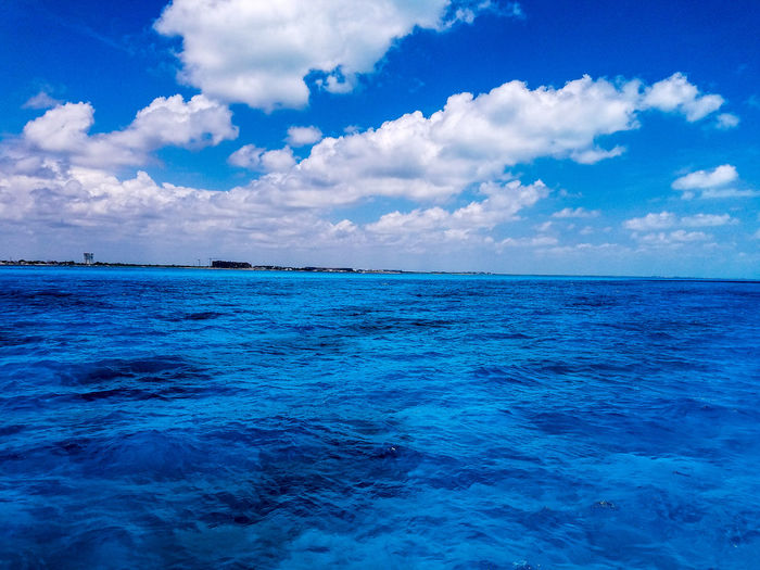Blue Cloud - Sky Sky Scenics Beauty In Nature Outdoors Tranquility Nature Horizon Over Water Water No People Day Isla Mujeres Mexico Cancun Mexico Trapical Climate Tropical Explore Springtime Spring May 2017 Vacation Clear Water Clear Clouds The Week On EyeEm