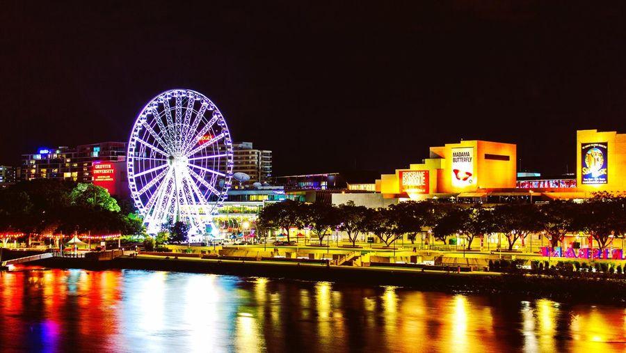Ferris Wheel Night Water Illuminated Reflection Waterfront Travel Destinations Outdoors City First Eyeem Photo