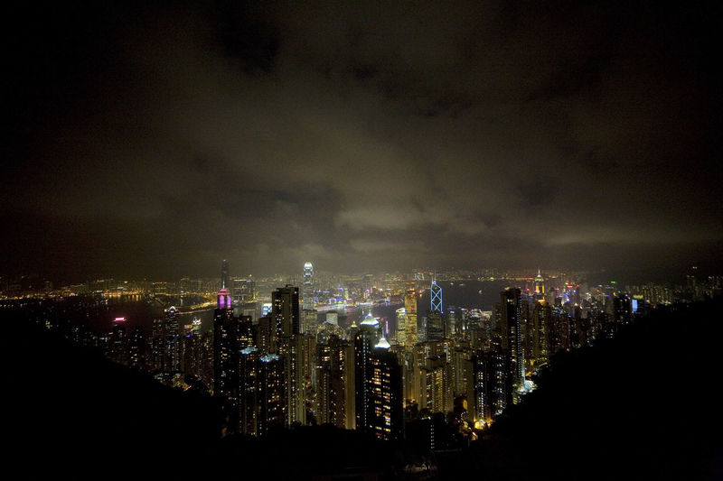 The city skyline of Hong Kong at night seen from Victoria Peak. City City Skyline Cityscape Hong Kong Hong Kong Skyline Night Lights City Landscape City Lights City Sky And Clouds City Skyline At Night City View  Night Night Sky Night View Victoria Peak Victoria Peak, Hongkong