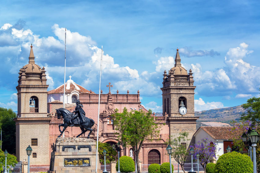 View of the cathedral and the Plaza de Armas in Ayacucho, Peru Altitude Andes Architecture Ayacucho  Blue Building Exterior Built Structure Cathedral Church Culture Historic History Inca Know Monument Peru Peruvian Plaza Puna South America Sucre Tourism Town Travel Destinations View