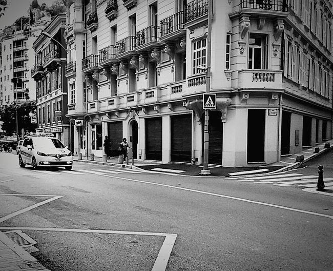 Policecar Samsunggalaxycore Urbanphotography Black And White EyeEm Monaco Police Montecarlo Monaco