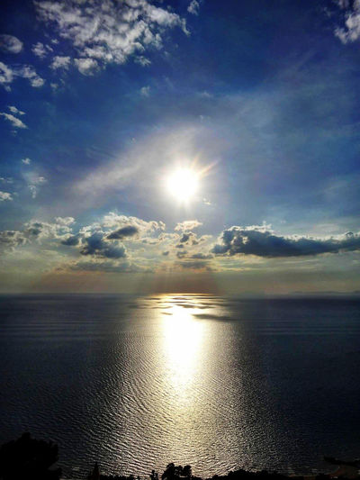 Nature Photography Italy Sun Sunset Sea Castellabate Sky Water Beauty In Nature Cloud - Sky Scenics - Nature Tranquility Tranquil Scene Sunlight Reflection No People Nature Idyllic Lens Flare Horizon Outdoors