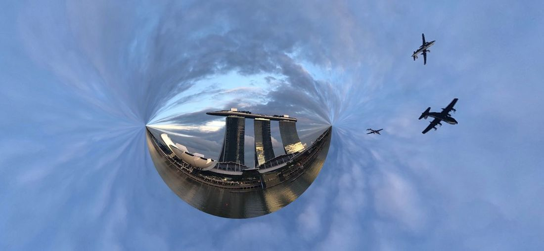 My lovely country! Singapore City Singapore Insta360 360photography 360 360º  360 Degree 360camera Ndp National Day Parade National Day Sky Flying Transportation Cloud - Sky Air Vehicle Mode Of Transportation Architecture Airplane City No People My Best Photo My Best Photo Nano360