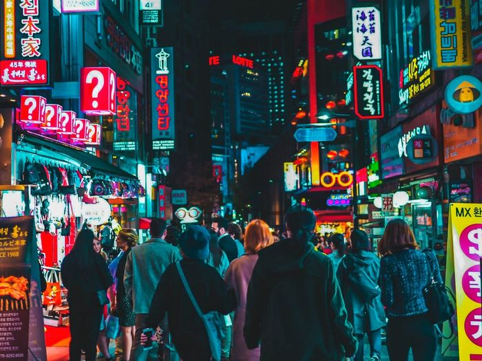 Seoul, South Korea - April 14,2018 : People in Myeongdong market with Neon style. People South Korea Shopping Night Nightphotography Lotte Myeongdongstreet MyeongDong City Neon Crowd Illuminated Multi Colored Nightlife Neon Colored City Life Walking Commercial Sign Store Sign