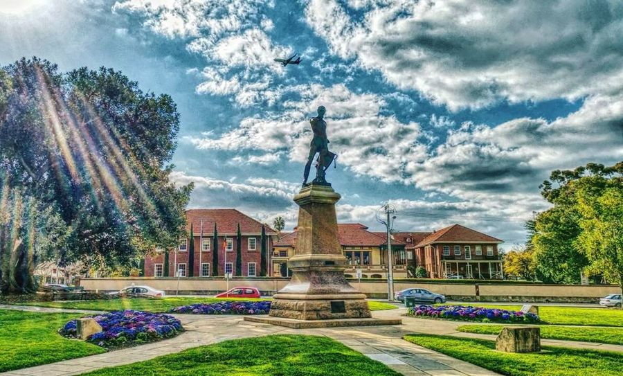 Love this city!!! Adelaide Sunshine Australia Plane Clouds Spring Statue My Best Photo 2015