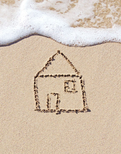 Home insurance or flooding theme, house drawing in the sand, beach scene. Home Houses Surf Beach Beach Scene  Communication Flood Flooding Holiday Home Insurance House Insurance Land Letter Message Nature No People Rescue Sand Sand Drawing Sand Writing Sea Text Water Waterfront