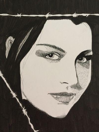Amy Lee, singer in Evanescence Fanart Art #illustration #drawing #draw #tagsforlikes #picture #photography #artist #sketch #sketchbook #paper #pen #pencil #artsy #in ArtWork Portrait