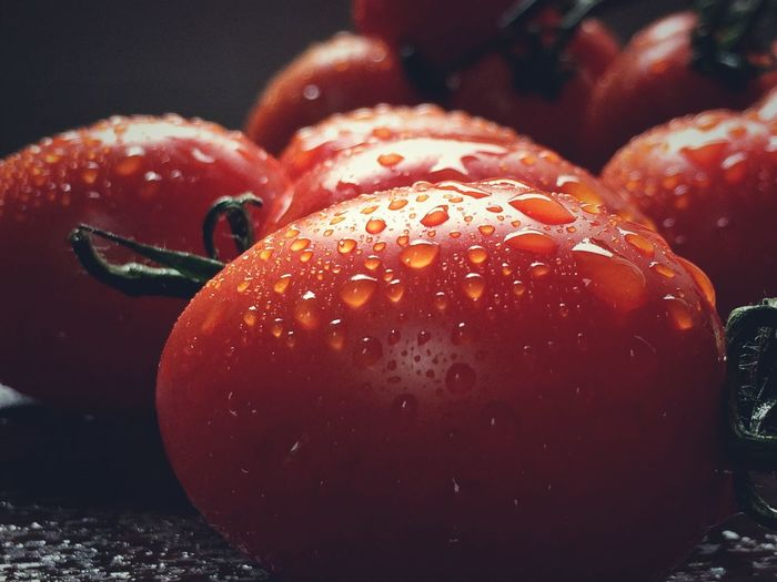 Roma Tomatoes Covered With Water II Food And Drink Freshness Red Healthy Eating Food Fruit Wet Close-up Vibrant Color Still Life Water Selective Focus Focus On Foreground No People Tomato Fresh Indoors  Group Of Objects Horizontal Color Image Photography Organic Studio Shot Black Background Drop