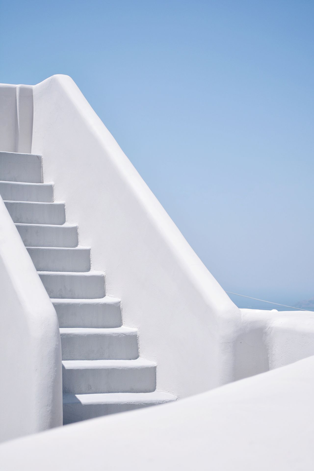 Low angle view of white steps