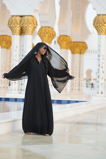 A woman in hijab Abu Dhabi Dress Shayla ♥️ Sheikh Zayed Grand Mosque UAE Woman Arab Arabic Black Female Headscarf Hijab Islam Mosque Muslim One Person Outfit Pillar Portrait Real People Religious  Veil Veiled Woman Young Adult Young Women