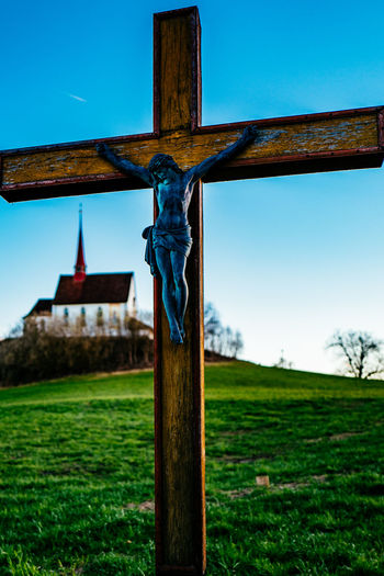 Architecture Blue Building Exterior Built Structure Church Clear Sky Cross Day Field Gormund Grass Grassy Green Color Kapelle Low Angle View Old Religion Sky Spirituality Sunlight