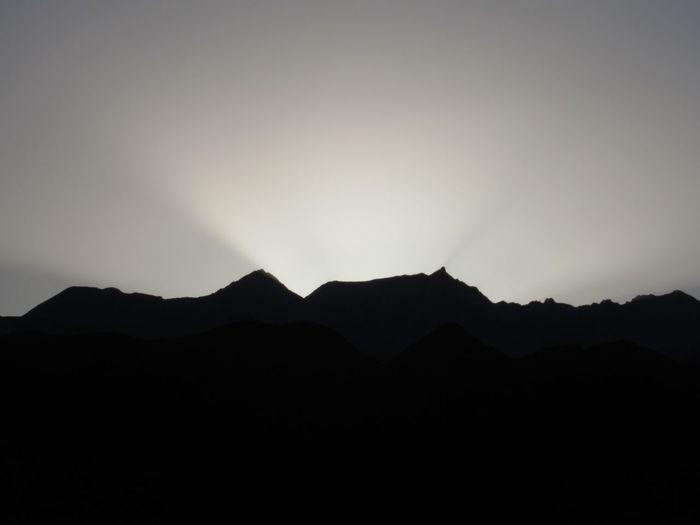 Sunset behind.