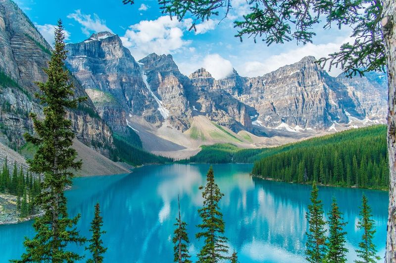 Scenic View Of Moraine Lake And Mountains
