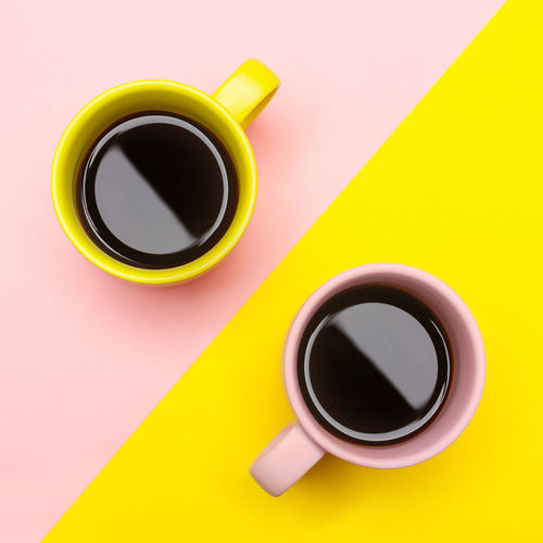 Two cup of coffee espresso on pink and yellow background Coffee Coffee - Drink Coffee Cup Cup Still Life Yellow Hot Drink Mug Pink Color Ying Yang Yingyang Cups Two Coffees Two Cups Flat Lay My Best Photo