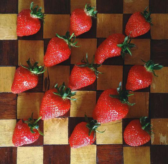Full frame of strawberries for sale