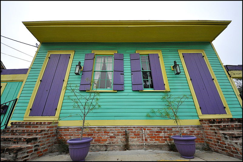 Colorful House New Orleans, LA Architecture Building Exterior Built Structure Day Low Angle View No People Outdoors Purple Doors Shotgun House