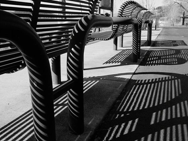 Benches Creative Light And Shadow Shadow Parallel Cast A Shadow Black & White
