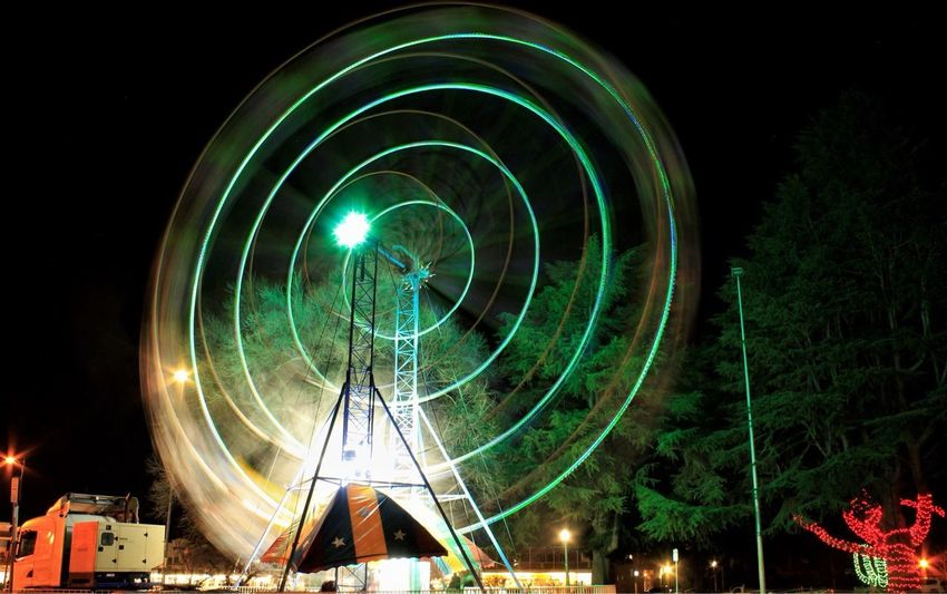 Whirl Fun Illumination Night Lights Australian Photographers Australian_collection Night_collection School Holidays Warp Speed Light In The Darkness Light Up Your Life Christmas In July Bathurst Winterfest Spinning Wheel Green Night Illuminated Arts Culture And Entertainment Amusement Park Ride Circle Ferris Wheel Shape Geometric Shape Low Angle View Motion Spinning Glowing Architecture Long Exposure Built Structure Lighting Equipment