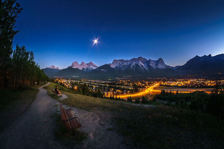 Panoramic View Of Mountains Against Clear Sky At Night