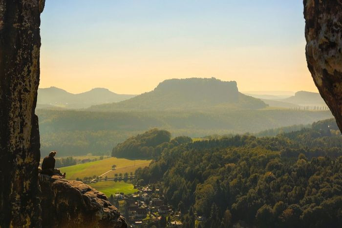| frontrow seat | Peaceful View On Top Of The World Sächsische Schweiz Elbsandsteingebirge Saxon Switzerland Landscape_Collection EyeEm Best Shots - Landscape Peaceful Place Fine Art Photography Hiking The Great Outdoors With Adobe Mountain Top Climber Frontrow Share Your Adventure Sitting Outside Hanging Out Enjoy The View Man Vs Nature Bastei Sublime Living Human And Nature Landscapes With WhiteWall Feel The Journey Finding New Frontiers