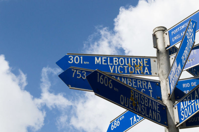 Australia Low Angle View Signs Street Signs Travel Victoria Blue Sky Clouds Cropped Summer