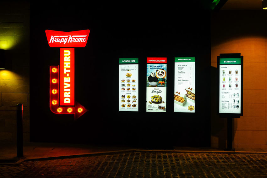Krispy Kreme drive thru at 10pm Castle Communication Donut Food Krispy KrispyKreme Sign Symbol First Eyeem Photo