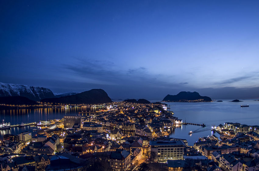 Norge Norway Alesund Bay Byrampen City Cityscape Dusk High Angle View Mountain Nature Night No People Norgeibilder Norway Nature Norwaynature Outdoors Sailboat Sea Sky Water Ålesund Norway Ålesund, Norway Ålesundkommune