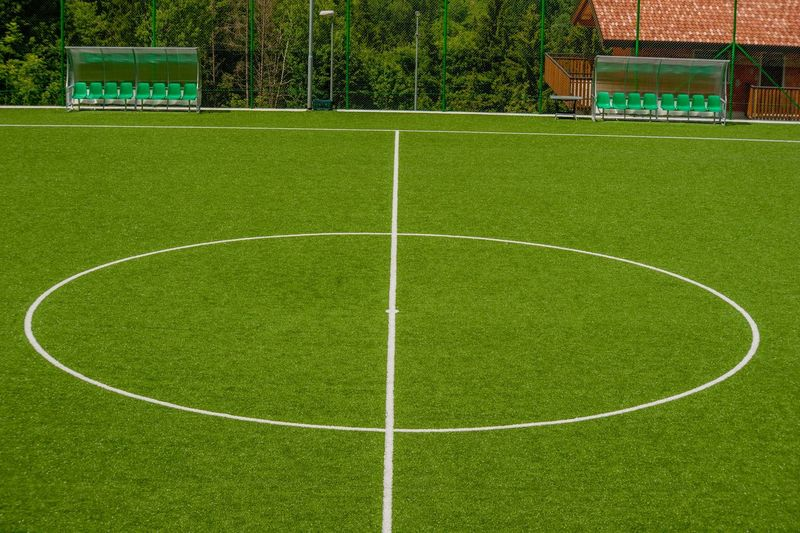 View of green soccer field