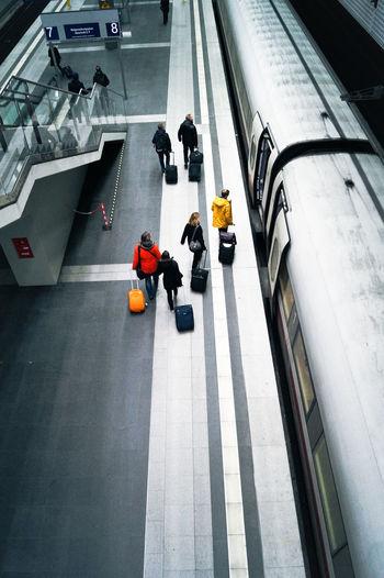High angle view of passengers at railroad station platform