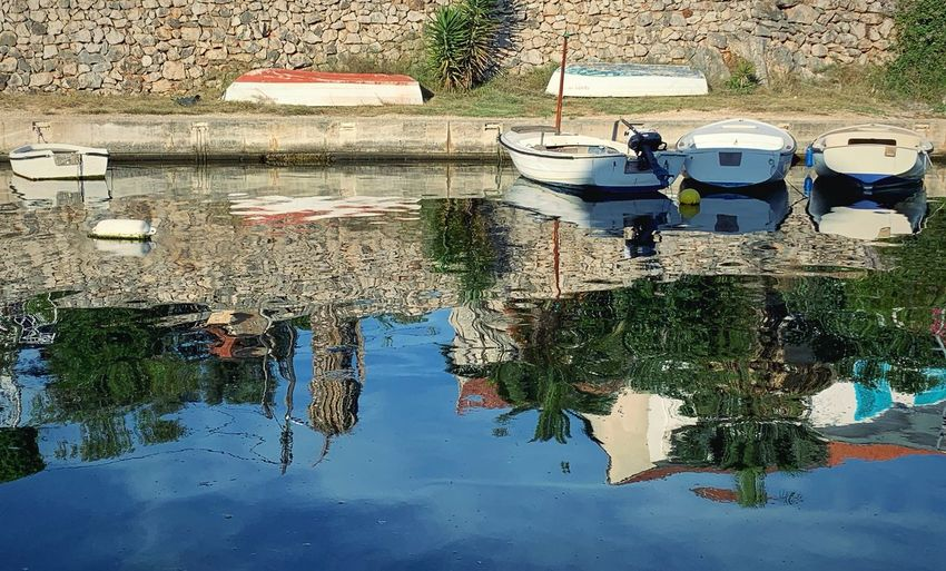 A reflection Water Reflection Waterfront Day Transportation Nature Mode Of Transportation Nautical Vessel No People Moored Outdoors