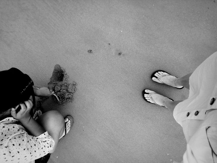 EyeEm Selects Human Hand Water Beach Togetherness Sand High Angle View Friendship Child Close-up FootPrint Beach Holiday Sandy Beach