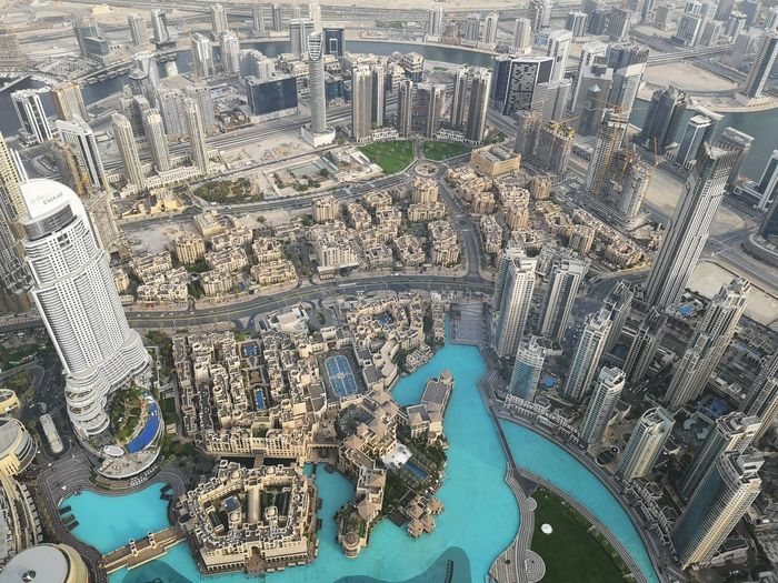 Dubai Dubai Mall Burj Khalifa View From Above View Huawei P20 Pro Cityscape Water Industry Aerial View City Sea High Angle View Architecture Building Exterior Office Building