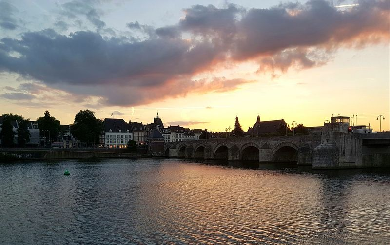 Maastricht Maastricht Holland Maastricht,NL Sunset Sunset_collection S7edgephotography Samsung S7 Edge Samsung Galaxy S7 Belgium Canoma Photography Beauty In Nature River Sky Reflection Cloud - Sky Cityscape Urban Skyline Netherlands