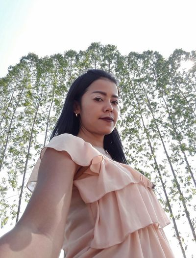 Woman Only Women Adults Only Tree One Person Low Angle View Selfie ✌ Sky Nature Beauty In Nature  Thailand🇹🇭 2018 Day EyeEmNewHere Tranquility Tree Close-up Standing Smiling Full Length Looking At Camera Green Color Beauty❤
