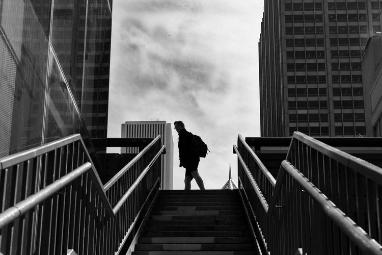 Railing Built Structure Architecture Staircase Full Length Steps And Staircases Real People Steps Walking One Person Building Exterior Lifestyles Day Outdoors Low Angle View Standing Men Climbing Sky City The Week On EyeEm