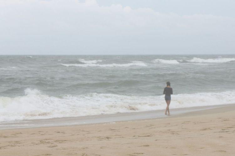 Ocean Cloudy Day Beach North Carolina Outer Banks, NC Walking