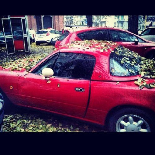Mazda Mx5 Miata Eunos roadster red topmiata @topmiata autunno foglie milan milano