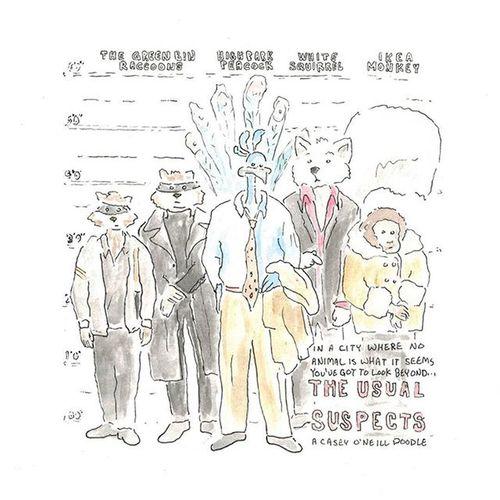 Toronto wildlife. The Usual Suspects - A Casey O'Neill Doodle. Toronto CaseyONeill Torontoartist Artistlife Wildife Doodle Watercolor Illustration Sketchbook Caseyoneillart
