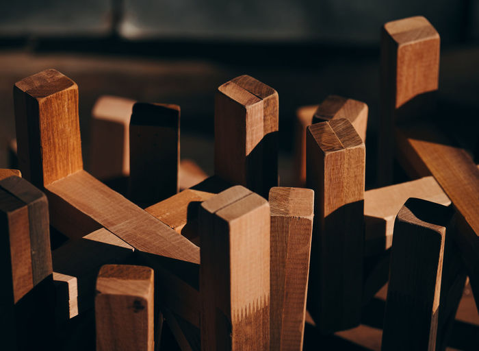 Close-up of wooden blocks on table