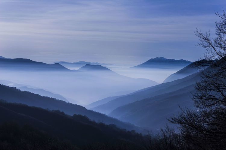Just after sunset in Kosovo. Blue Mountain Darkness Kosovo Beauty In Nature Cloud - Sky Fog Idyllic Landscape Majestic Mountain Mountain Peak Mountain Range Nature Night Nightfall No People Non-urban Scene Outdoors Scenics - Nature Sky Tranquil Scene Tranquility Tree
